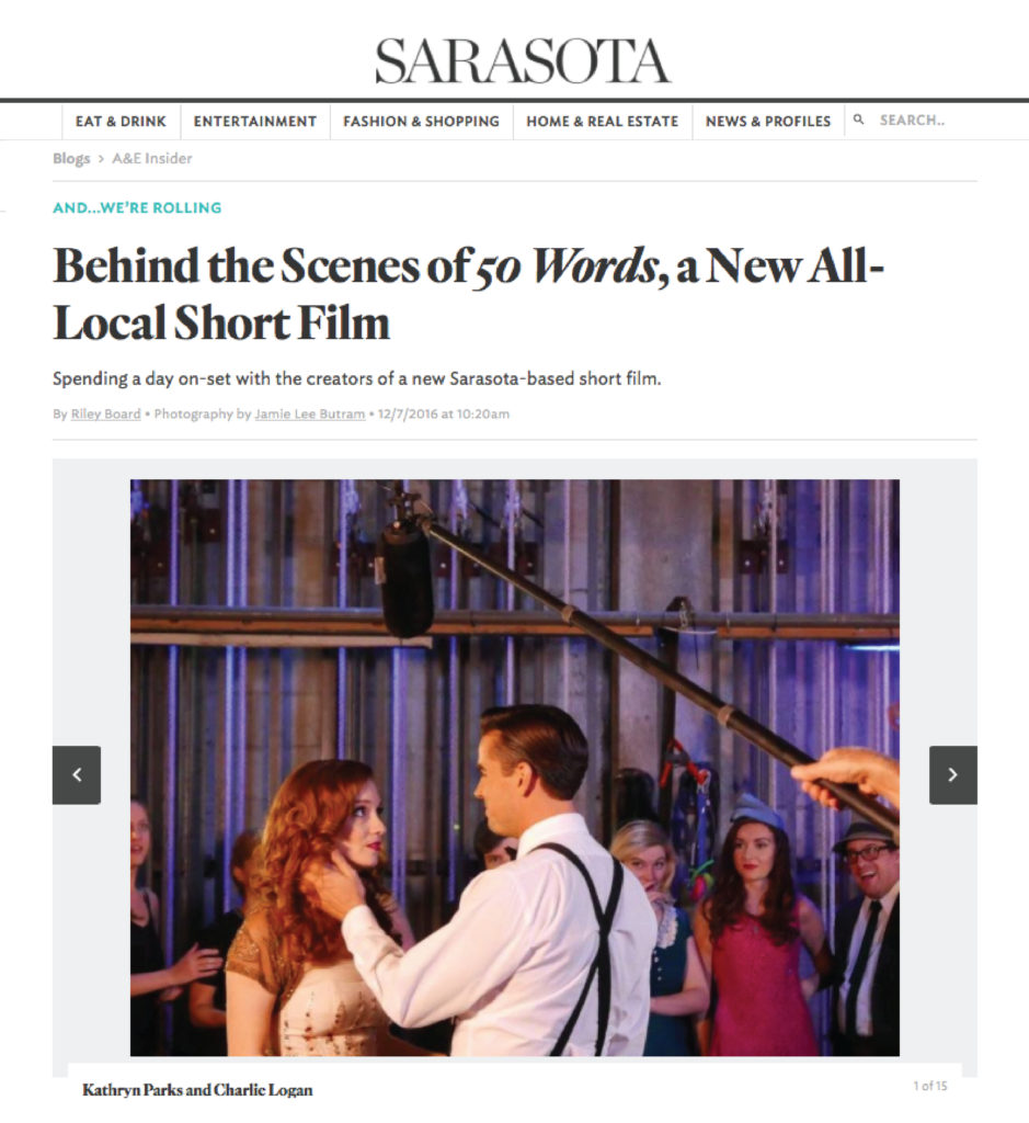 "Sarasota Magazine features short film, ""50 Words""."